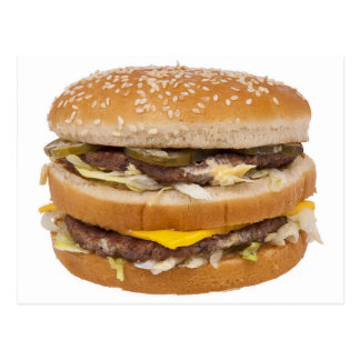 Cheeseburger double fast food postcard