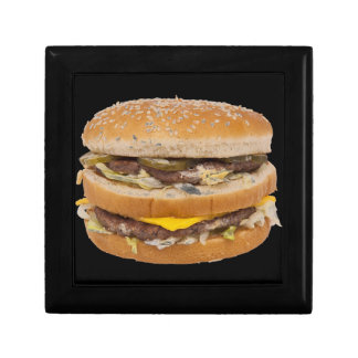 Cheeseburger double fast food small square gift box