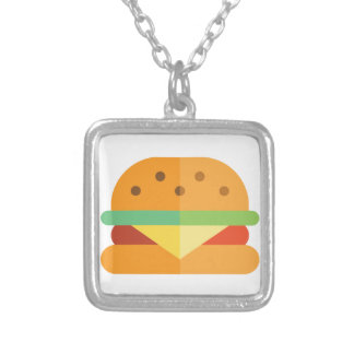 Cheeseburger Funny Food Square Necklace