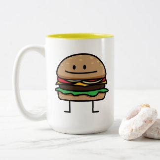 Cheeseburger Hamburger ground meat Beef cheese bun Two-Tone Coffee Mug