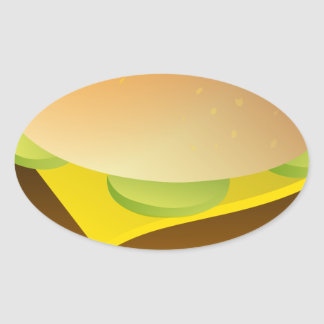 cheeseburger oval sticker