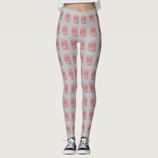 Cheeseburger Pattern (Red/Gray) Leggings
