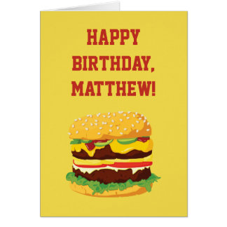 Cheeseburger Personalized Birthday Card in Yellow