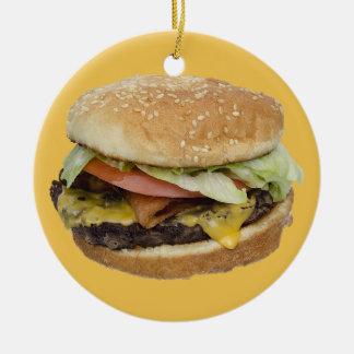 Cheeseburger Round Ceramic Decoration