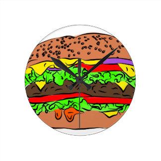 Cheeseburger Round Clock