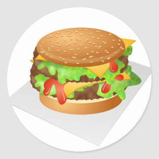 Cheeseburger Round Sticker