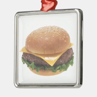 Cheeseburger Silver-Colored Square Decoration
