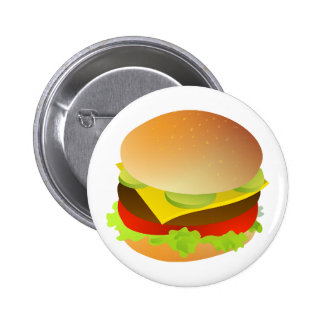 Cheeseburger with Lettuce, Tomato, and Pickles Button