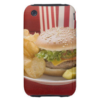 Cheeseburger with potato crisps and gherkin iPhone 3 tough cases