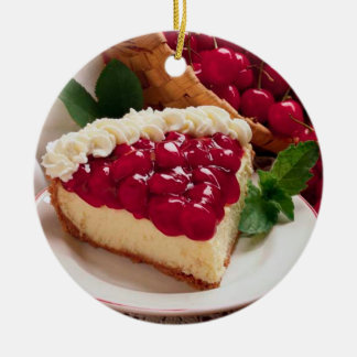 CHEESECAKE WITH CHERRY TOPPING ROUND ORNAMENT