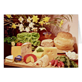 Cheeses, with radishes, lettuce, bread, and daffod card