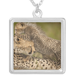 Cheetah, Acinonyx jubatus, with cub in the Masai 3 Square Pendant Necklace