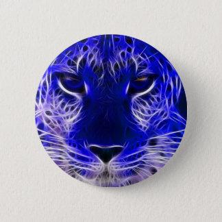 cheetah blue fractal design 6 cm round badge