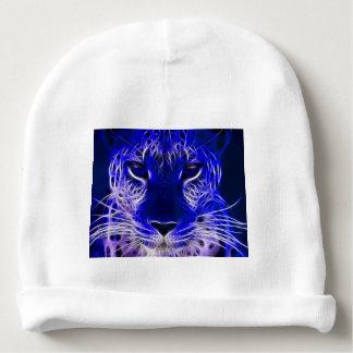 cheetah blue fractal design baby beanie