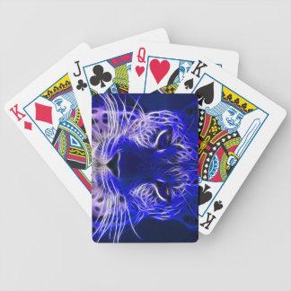 cheetah blue fractal design bicycle playing cards