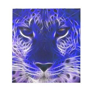 cheetah blue fractal design notepad