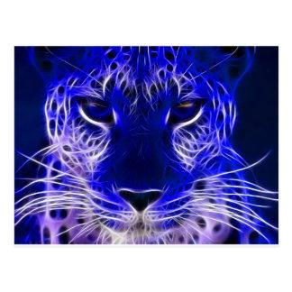 cheetah blue fractal design postcard