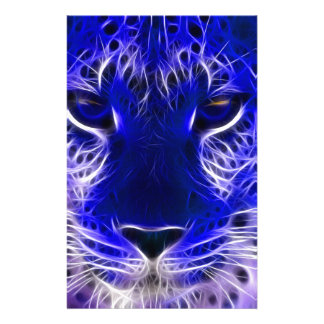cheetah blue fractal design stationery