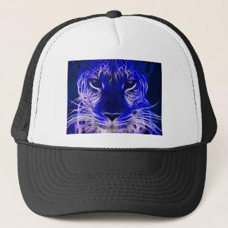 cheetah blue fractal design trucker hat