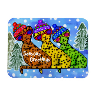 Cheetah Cats Seasons Greetings Premium Magnet