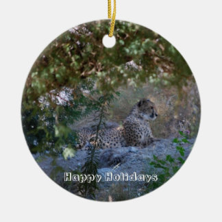 cheetah ceramic ornament