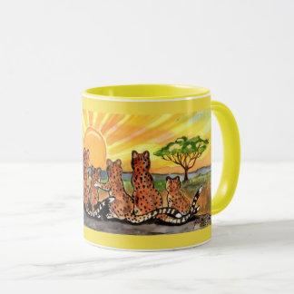 Cheetah Family Sunrise Bright Designer Mug