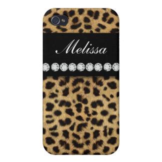 Cheetah Fur Diamonds Name ed  Cover For iPhone 4