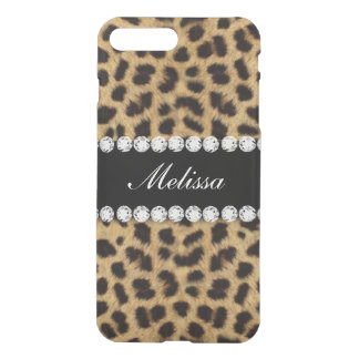 Cheetah Fur Diamonds Name Printed iPhone 8 Plus/7 Plus Case