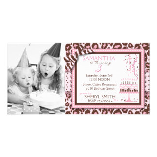 Cheetah Girl Invitation Photo Card