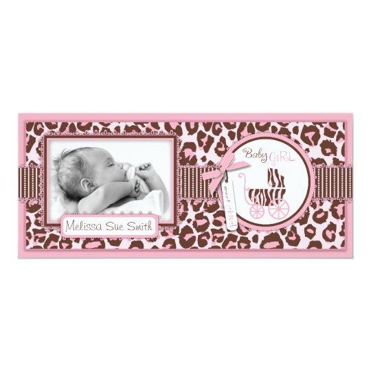 Cheetah Girl Tall Announcement Card Pink
