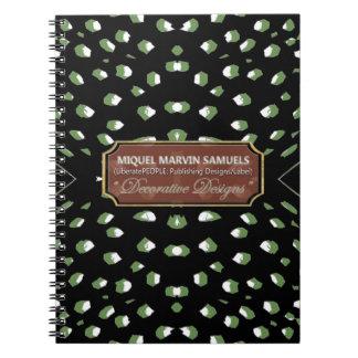 Cheetah Green White Dots Decor Modern Notebook