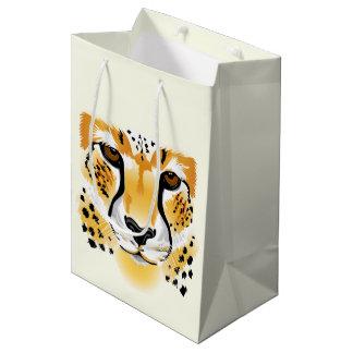 cheetah head close-up illustration medium gift bag