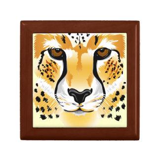 cheetah head close-up illustration small square gift box