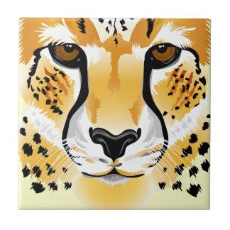 cheetah head close-up illustration small square tile