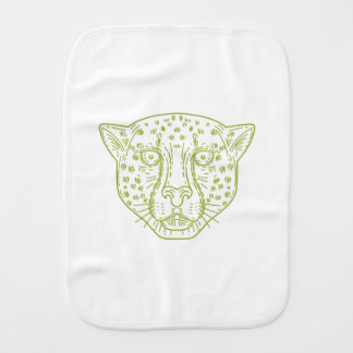 Cheetah Head Mono Line Burp Cloth