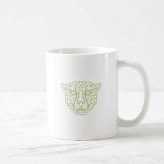 Cheetah Head Mono Line Coffee Mug