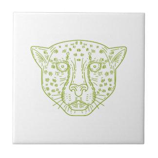 Cheetah Head Mono Line Small Square Tile