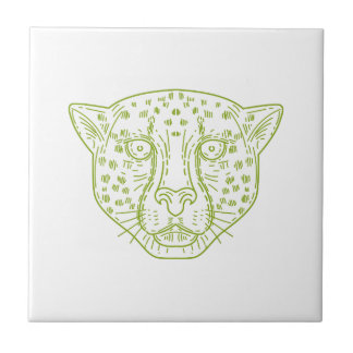 Cheetah Head Mono Line Tile