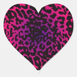 Cheetah Heart Pink Purple Heart Sticker