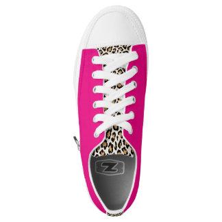 Cheetah/Hot Pink Low Top Sneakers by Elle Rose