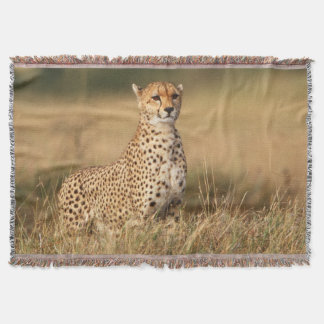 Cheetah on small mound for better visibility throw blanket