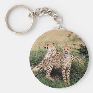Cheetah Pair Basic Round Button Key Ring