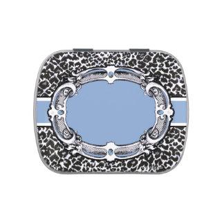 Cheetah Pattern Blue Label Candy Tin