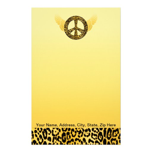 Cheetah Peace Angel Cards and Stationary Customized Stationery