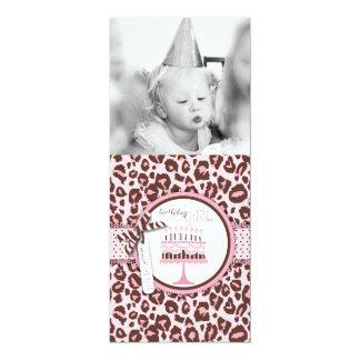 Cheetah Print & Birthday Cake Photo Template Card
