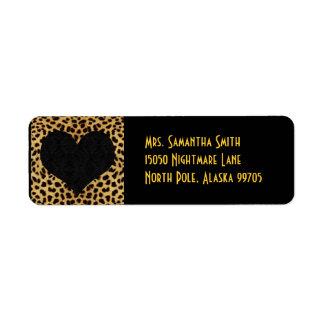Cheetah Print Black Heart - Custom Address Return Address Label
