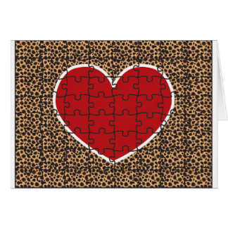 Cheetah Print Heart Puzzle Pieces Greeting Card