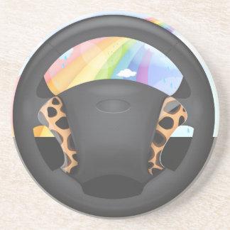Cheetah  Print Steering Wheel Beverage Coaster