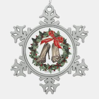Cheetah Print Stiletto Shoe Snowflake Ornament