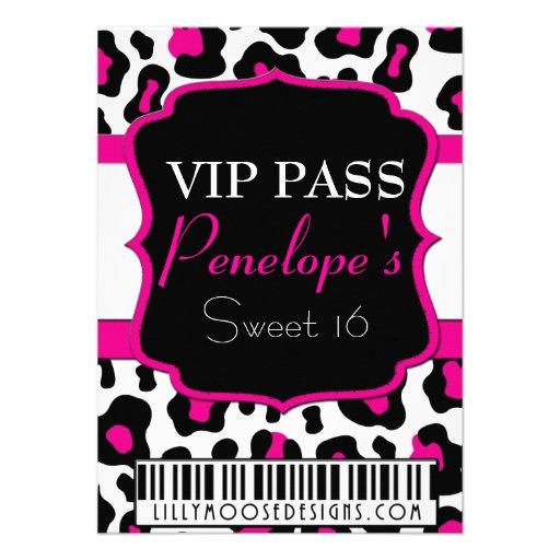 Cheetah Print VIP Pass Sweet 16 Invitation